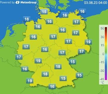 Temperaturen aktuell in Deutschland