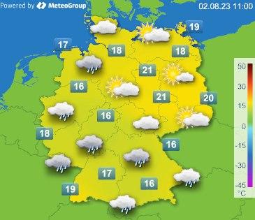 Wetter+Temperatur aktuell in Deutschland