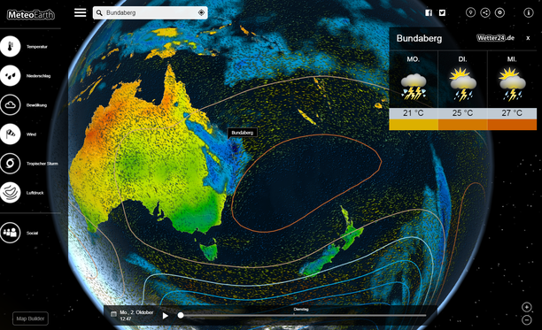 Australia weather interactive by meteoearth.com