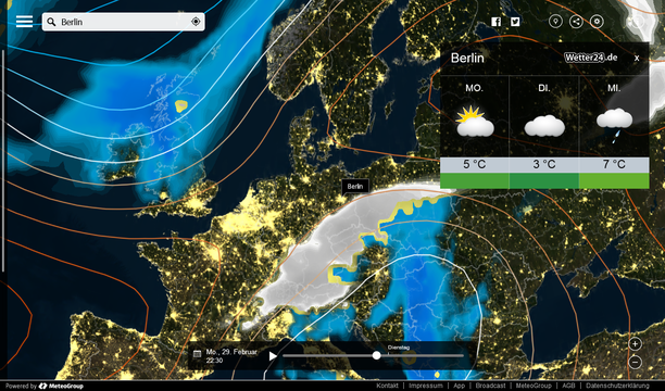 Wetter MeteoEarth.com Montag