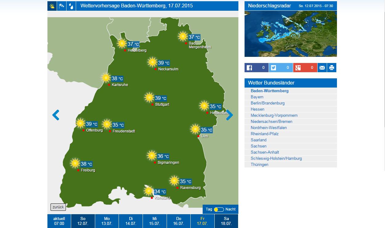 Wetterkarte Bw