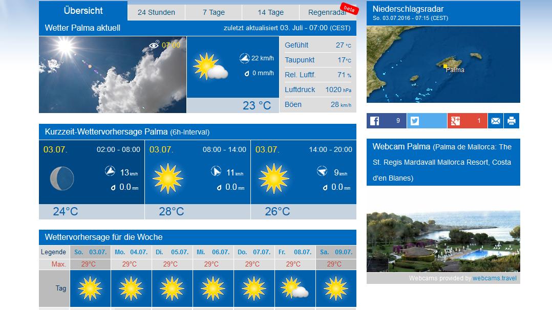 Wetter Mallorca 30 Tage